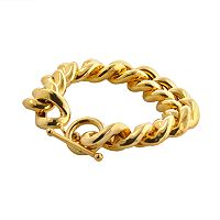 Elegante 18k Gold Over Brass Cuban Chain Bracelet - 8 in