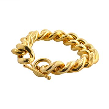 Elegante 18k Gold Over Brass Cuban Chain Bracelet - 8-in.