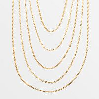 Elegante 18k Gold Over Brass Multistrand Necklace