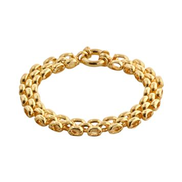 Elegante 18k Gold Over Brass Panther Chain Bracelet - 8-in.