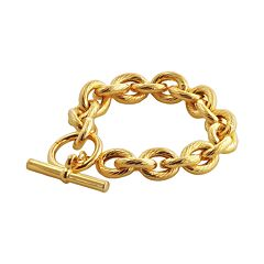 Elegante 18k Gold Over Brass Twist Oval Link Bracelet - 9 in