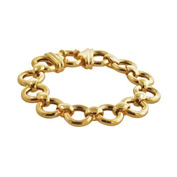 Elegante 18k Gold Over Brass Circle Link Bracelet - 8.5-in.