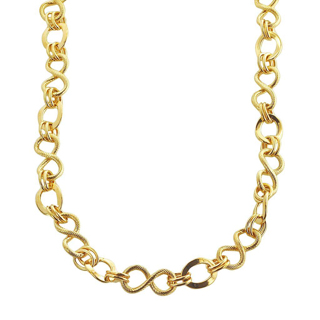 Elegante 18k Gold Over Brass Textured Link Necklace - 18-in.