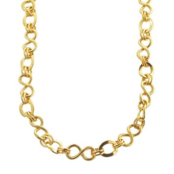 Elegante 18k Gold Over Brass Textured Link Necklace - 18-in.