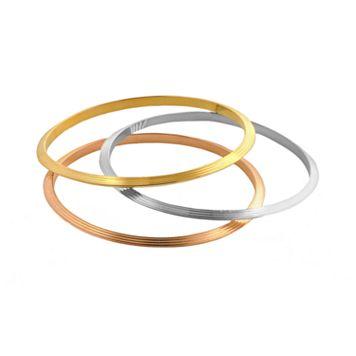 Elegante 18k Gold Over Brass Tri-Tone Textured Bangle Bracelet Set