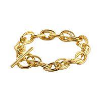 Elegante 18k Gold Over Brass Double Oval Link Bracelet - 7.5-in.