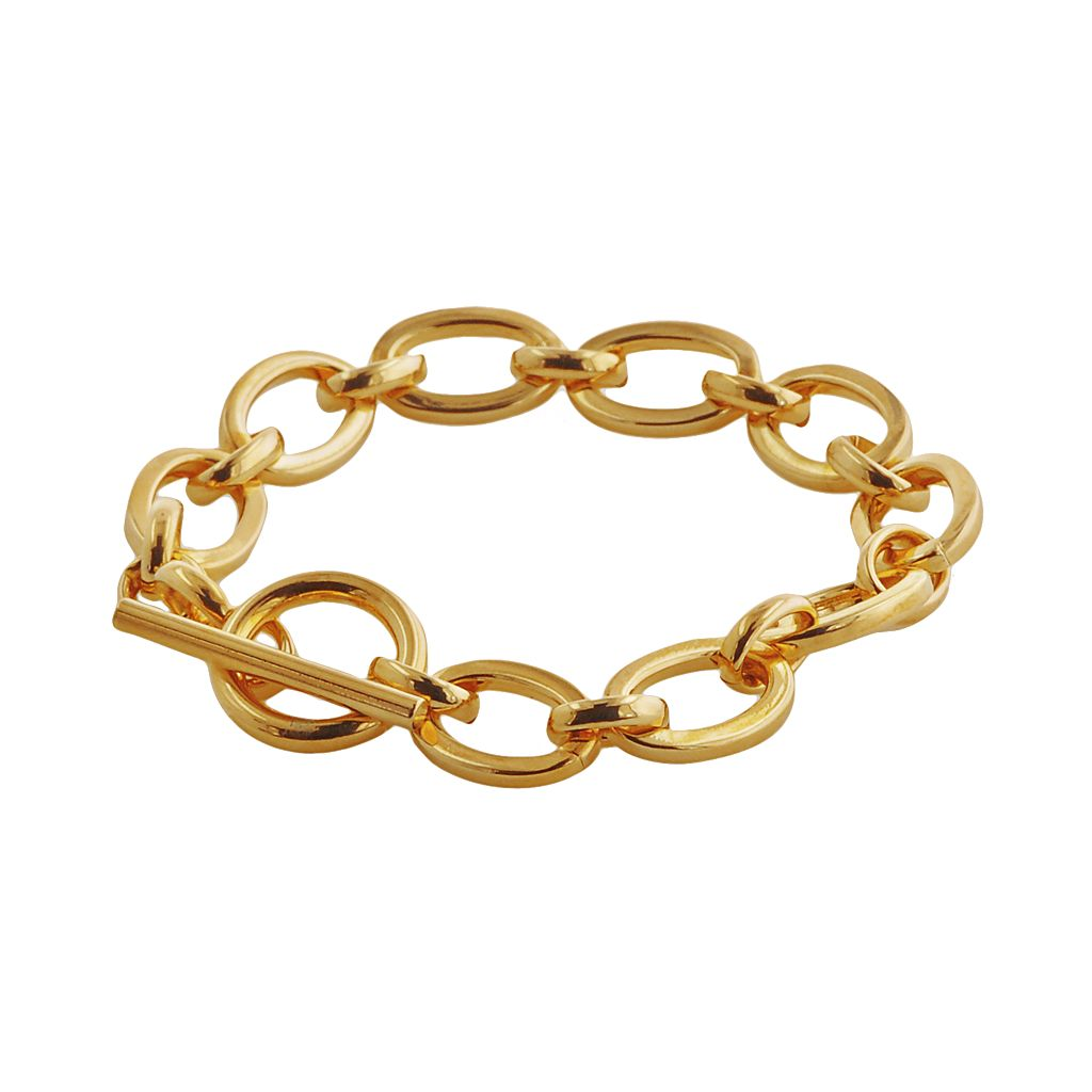 Elegante 18k Gold Over Brass Oval Link Bracelet - 7.5-in.