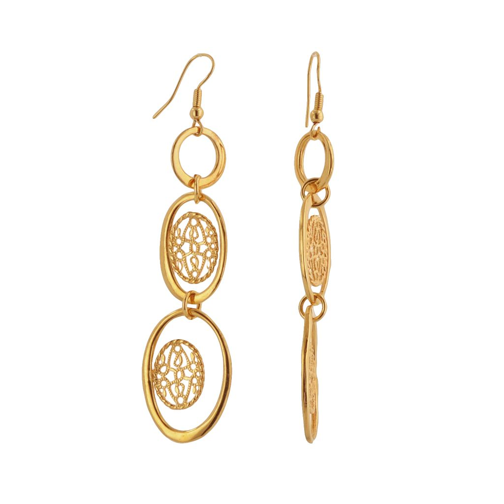 Elegante 18k Gold Over Brass Filigree Disc Linear Drop Earrings