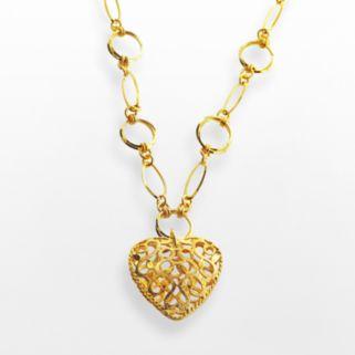 Elegante 18k Gold Over Brass Filigree Heart Pendant