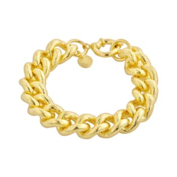 Elegante 18k Gold Over Brass Textured Cuban Chain Bracelet - 8.5-in.