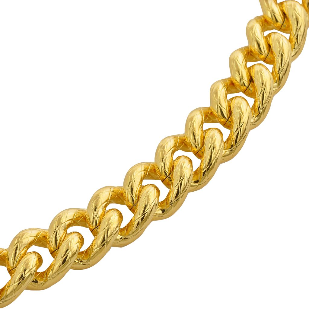 Elegante 18k Gold Over Brass Textured Cuban Chain Bracelet - 8.5-in.