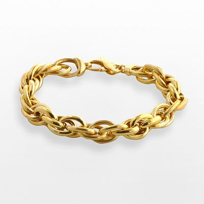 Elegante 18k Gold Over Brass Woven Oval Link Bracelet - 8-in.