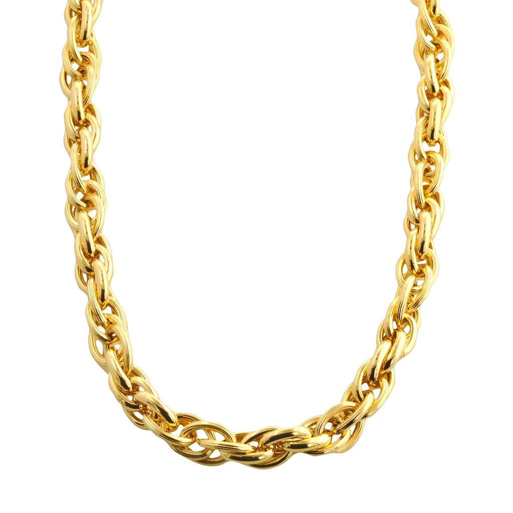 Elegante 18k Gold Over Brass Woven Oval Link Necklace - 18-in.