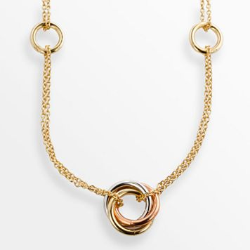 Elegante 18k Gold Over Brass Tri-Tone Long Swag Necklace