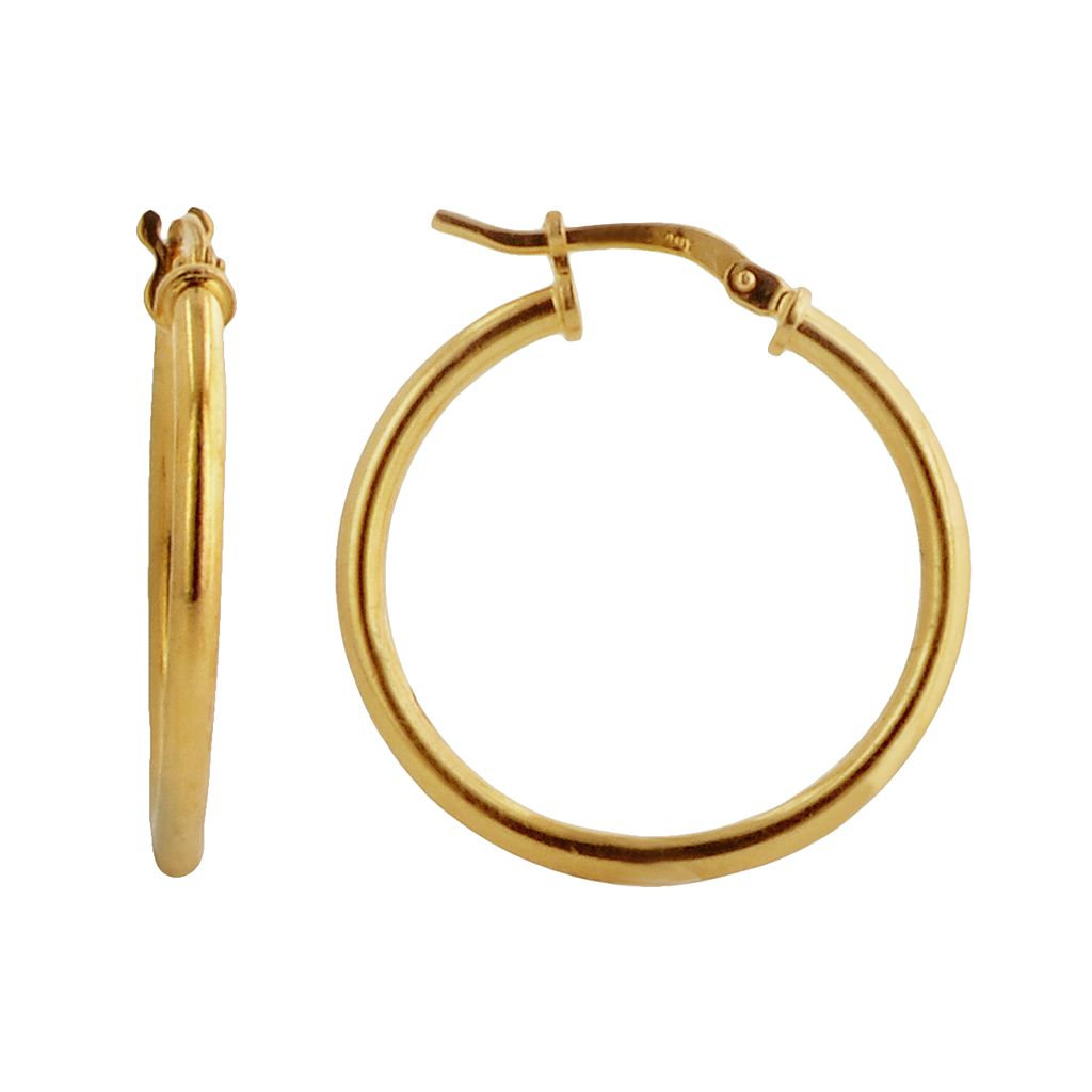 Elegante 18k Gold Over Brass Hoop Earrings