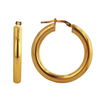 Elegante 18k Gold Over Brass Hoop Earrings