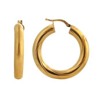 Elegante 18k Gold Over Brass Swirl Hoop Earrings