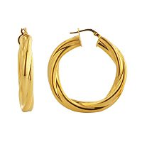 Elegante 18k Gold Over Brass Twist Hoop Earrings