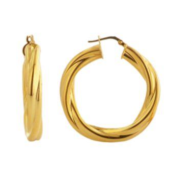 Elegante 18k Gold Over Brass Twist Hoop Earrings
