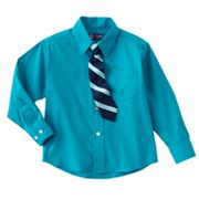 Chaps Dress Button-Down Shirt and Patterned Tie Set - Boys 4-7