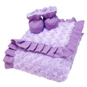 Trend Lab Lilac and Plum Blanket and Reversible Booties Set