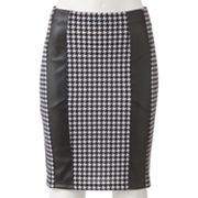Joe Benbasset Houndstooth Faux-Leather Strips Pencil Skirt - Juniors