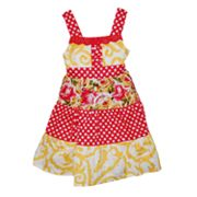 Blueberi Boulevard Polka-Dot Tiered Sundress - Toddler