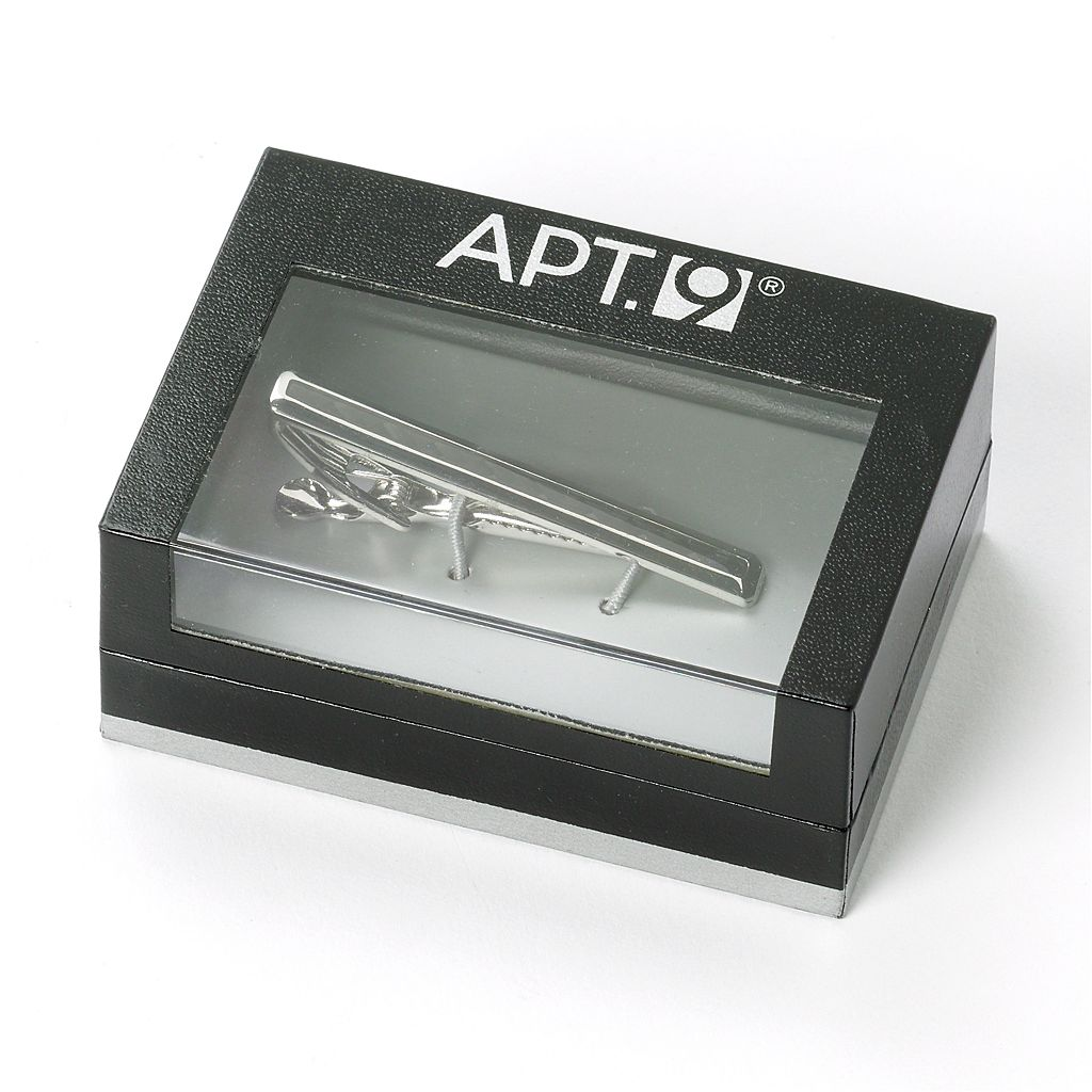 Apt. 9® Rhodium and Black Carbon Fiber Tie Clip