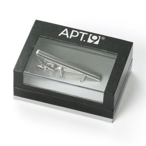 Apt. 9® Rhodium and Black Carbon Fiber Tie Clip