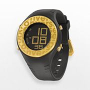 Converse Pickup Gold Tone Aluminum and Black Silicone Digital Watch - VR007025 - Women