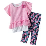 Little Lass Floral Crocheted Top Set - Toddler
