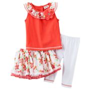 Little Lass Floral Mesh Tutu Set - Toddler