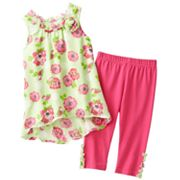Little Lass Floral Top and Skimmer Leggings Set - Toddler