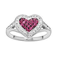 Silver Plated Crystal Heart Frame Ring