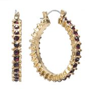 Jennifer Lopez Gold Tone Simulated Crystal Hoop Earrings