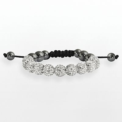 Hematite and Crystal Bead Bracelet
