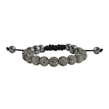 Hematite & Crystal Bead Bracelet