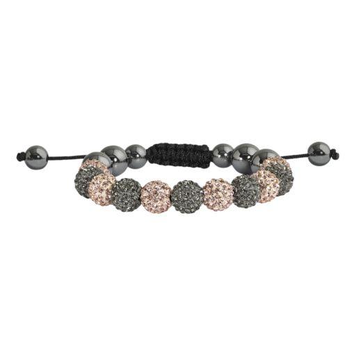 Hematite and Crystal Bead Bracelet