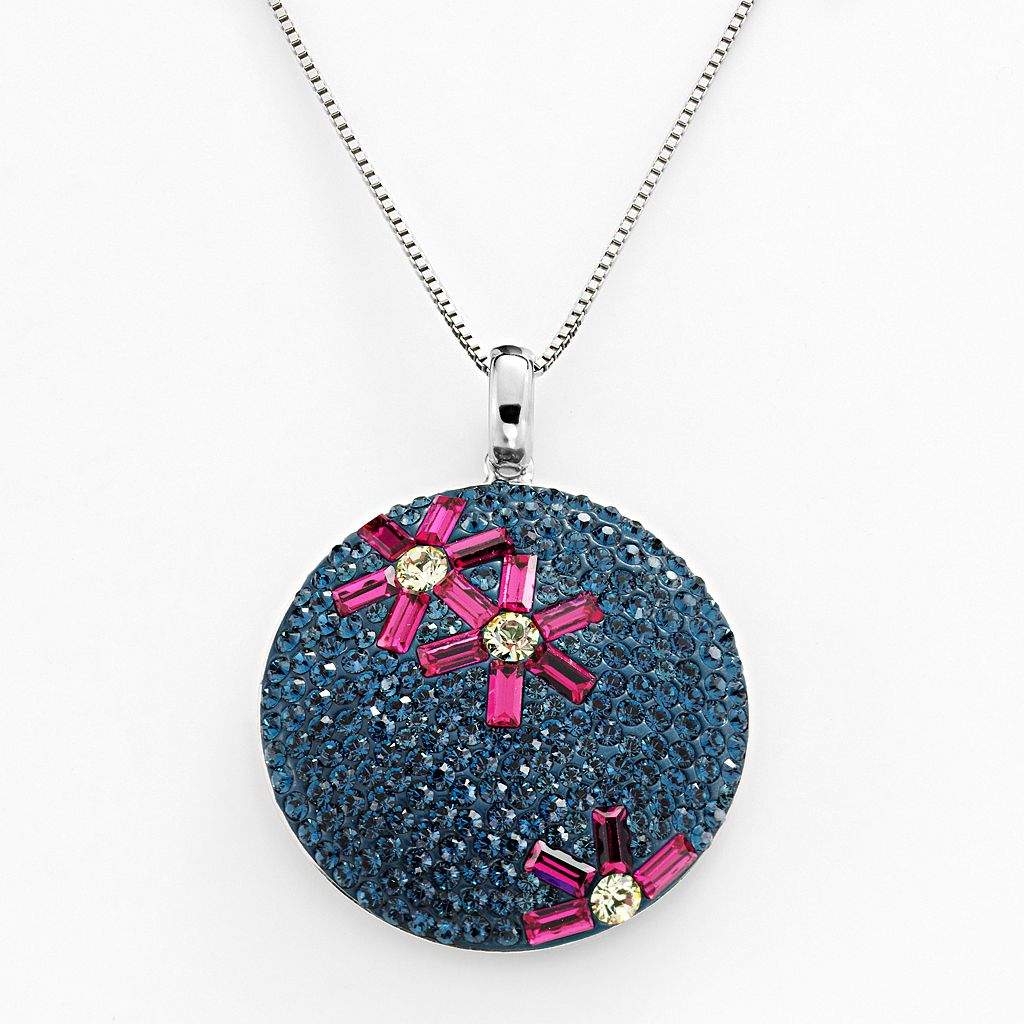 Sterling Silver Crystal Flower Disc Pendant