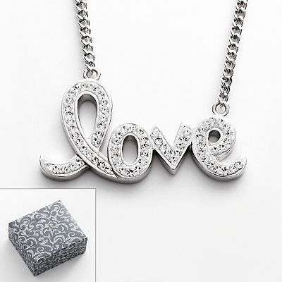 Silver Plated Crystal Love Link Necklace