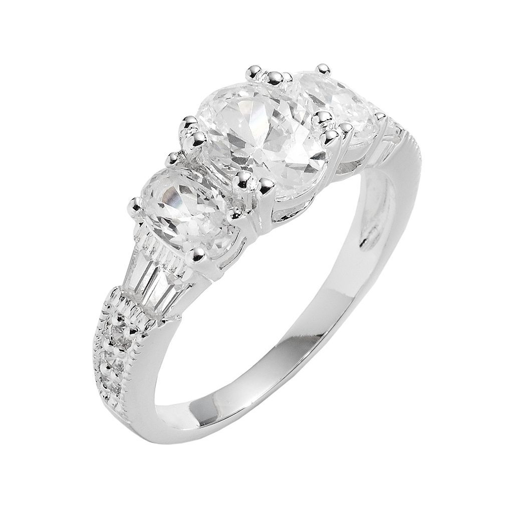 Silver Plated 3-Stone Cubic Zirconia Ring