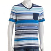 Hang Ten Striped V-Neck Pocket Tee - Men