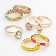 Candie's Gold Tone Simulated Crystal Ring Set
