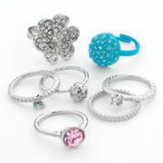 Candie's Silver Tone Simulated Crystal Flower and Butterfly Ring Set