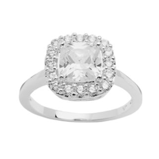 Silver Plated Cubic Zirconia Square Ring