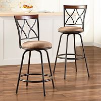 Sonoma Goods for Life Shelton Adjustable Swivel Stool 2-Piece Set (Tan Faux Suede)
