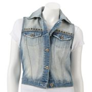 Mudd Studded Denim Button-Front Vest - Juniors