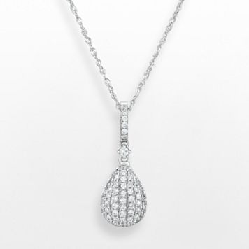 14k White Gold .25 T.W. Diamond Teardrop Pendant