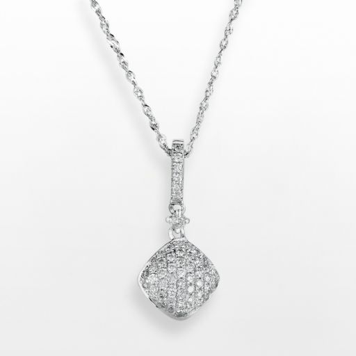 14k White Gold .25 T.W. Diamond Pendant