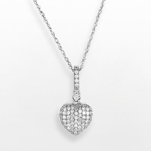 14k White Gold .3 T.W. Diamond Heart Pendant